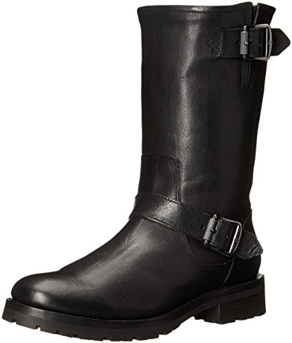 FRYE Women's Natalie Mid Lug Engineer Boot,Black,7 M US