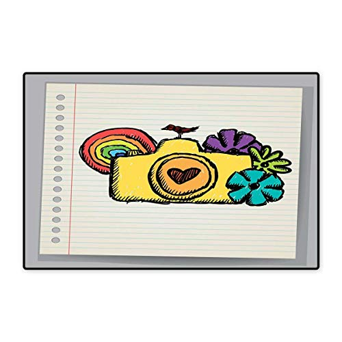 Doodle Door Mats Area Rug Yellow Camera with Flowers of Many Colors Mini Bird Rainbow on Notebook Floor mat Bath Mat 20