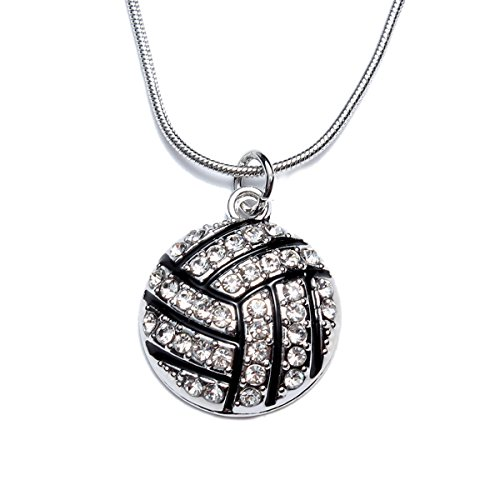 Volleyball Pendant Necklace for Women Gift - White Crystal Sport Ball Jewelry (Sport White Necklace)