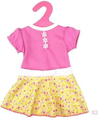 DYNWAVE 18 インチag私たちの世代の人形のための2xパフスリーブ黄色のスカートドレス