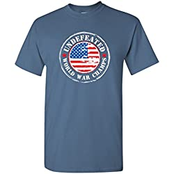 USA Undefeated World War Champs Political 4th of July Sarcasm Very Funny T Shirt XL Dusk
