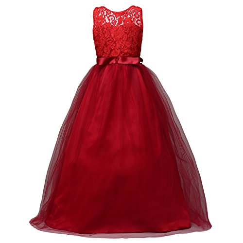 Glamulice Girls Lace Bridesmaid Dress Long A Line Wedding Pageant Dresses Tulle Party Gown Age 3-14Y (9-10Y, Wine Red)