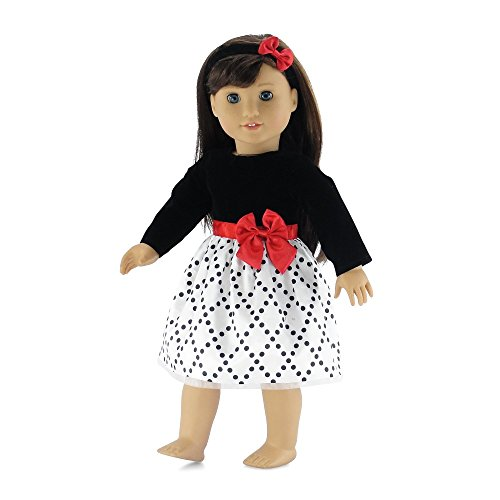 18 Inch Doll Clothes | Black and White Party Dress with Red Trim, Includes Matching Headband with Bow | Fits American Girl Dolls