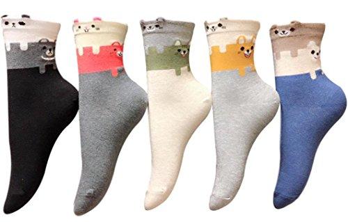 5 Pairs Women Teen Girls Cute Fun Animal Casual Cotton Crew Socks Perfect Gifts (Duo) -