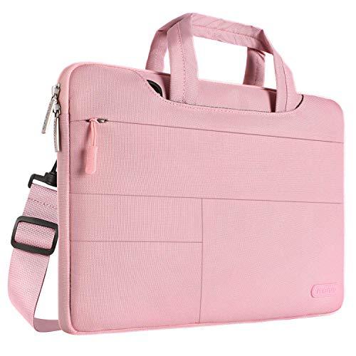 MOSISO Laptop Shoulder Bag Compatible with 13-13.3 Inch MacBook Pro, MacBook Air, Notebook Computer, Polyester Multifunctional Carrying Briefcase Sleeve with Front Storage Organizer Pockets, Pink