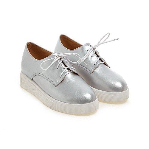 Buttom BalaMasa Lace American Up Girls Pumps Shoes Silver Imitated Muffin Leather rqtItR4w