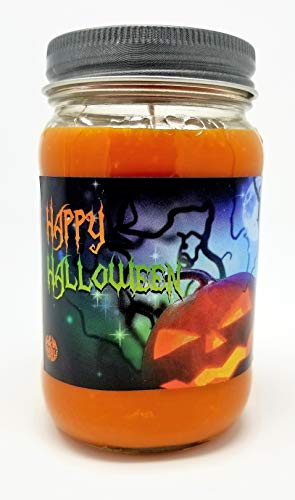 S&M Candle Factory Happy Halloween 3 Wick Scented Soy Wax 12oz - 14.5oz - and 16oz Candles ~ 75 to 100 Hour Burn Time ~ Aromatherapy Soy Candles ~ Made in USA 16, Orange (Pumpkin Spice) (Yankee Candle Factory)