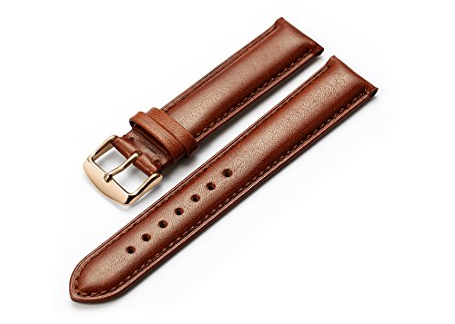 IStrap 18mm Genuine Leather Watch Band Padded Calfskin Strap RG Spring Bar Buckle Super Soft -Brown