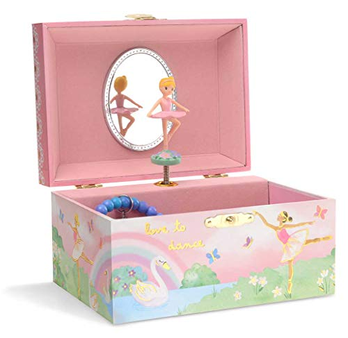 JewelKeeper Girl's Musical Jewelry Storage Box with Spinning Ballerina, Rainbow and Gold Foil Design, Swan Lake Tune ()