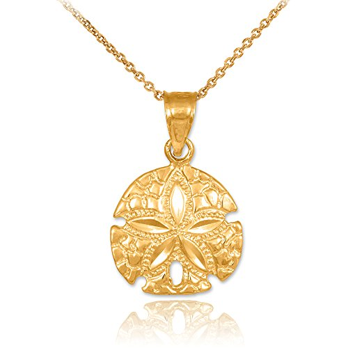 10k Yellow Gold Polished Sea Star Charm Sand Dollar Pendant Necklace, 18