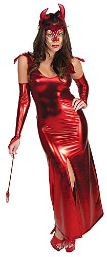 (123456 Halloween Cosplay Party Cosplay Costume Nightclub Red Patent Leather Horn Devil Dress, M)