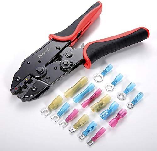 Crimping Tool For Heat Shrink Connectors,Dmuccio Racheting Wire Crimper Tools,Ratchet Wire Terminal Crimper,Crimp Tool for Wire Connectors,Wire Crimper Tool