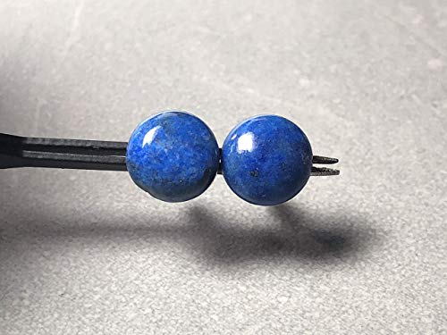 10mm Denim Lapis Gemstone and Sterling Silver Post Earrings