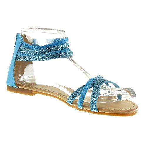 Angkorly - Chaussure Mode Sandale femme pailettes multi-bride tréssé Talon bloc 1 CM - Bleu