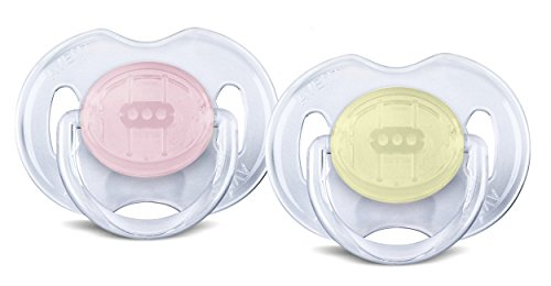 Philips AVENT Translucent Orthodontic Infant Pacifier, Pink/Yellow, 0-6 Months
