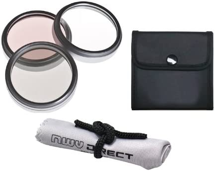 Sony DCR-SR47 High Grade Multi-Coated 30mm 3 Piece Lens Filter Kit + Nwv Direct Microfiber Cleaning Cloth. Multi-Threaded