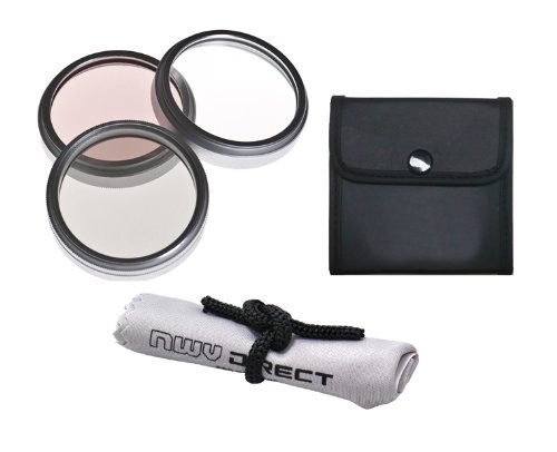 Digital Nc Sony HDR-XR150 High Grade Multi-Coated, Multi-Threaded, 3 Piece Lens Filter Kit (30mm) + Nwv Direct Microfiber Cleaning Cloth. by Digital Nc
