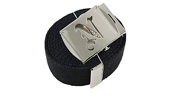 Style InitialI Canvas Web Military Belt /& Buckle Black 60 #AAAS