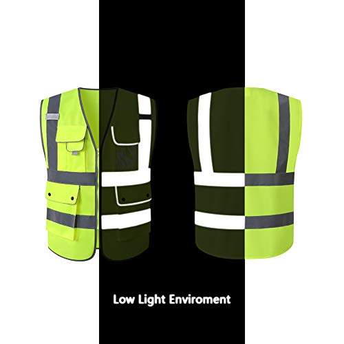 Tekware High Reflective and Breathable Safety Vest, Pack of 5 Bright Neon Color Construction Protector with Reflective Strips and Zipper with 6 Pockets by Tekware (Image #6)