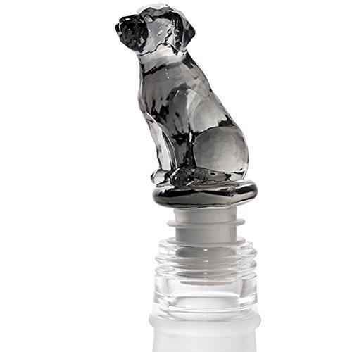 (WINGOFFLY Super Cute Decorative Wine Champagne Beverage Bottle Stopper(Black Clear Dog))