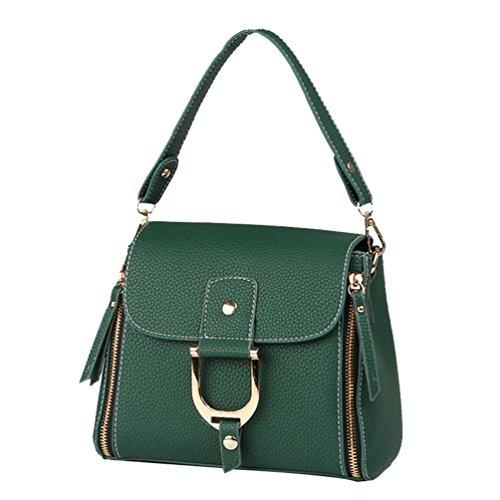 ZhiYuanAN Damen Simple Mode Sperren Schnalle Handtasche Wasserdicht Dauerhaft Multifunktion Umhängetasche Grün XTYfU6vo