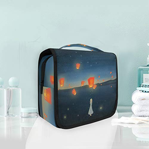 (Mr.XZY Hanging Makeup Bags Aesthetic Cartoon Pattern Portable Organizer Cosmetic Bags Girl Make Wish Flying Sky Lanterns Starry Toiletry Bag Large Capacity Travel Bags for Women 3010145)