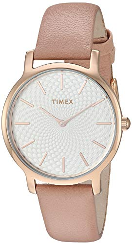 - Timex Women's TW2R85200 Metropolitan 34mm Blush/Rose Gold-Tone Leather Strap Watch