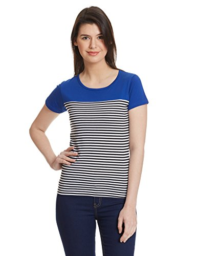 Miss Chase Women #39;s Orange and Black Round Neck Short Sleeves Striped Top