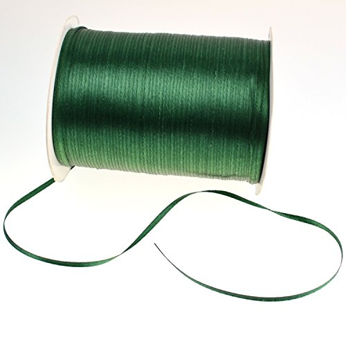 1/8-Inch Satin Ribbon by 870 Yard Spool | 3mm Double Face Woven Polyester Ribbon Hanging Tag&Card for Art Projects | No Fading Scrapbook Fabric Ribbon (1/8-Inch x 870 Yard x 1 Spool Hunter Green)