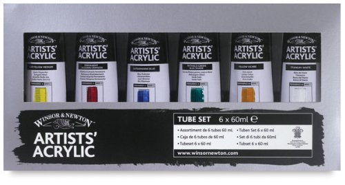 Winsor & Newton Artists' Acrylic Color 6-Tube Set, 60ml