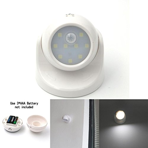 DEESEE(TM) Adjustable LED Motion Light Activated Sensor Indoor Outdoor Cordless Patio Wall