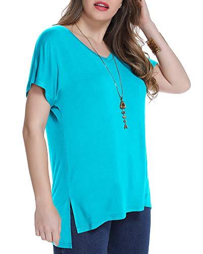 JollieLovin Women's Short Sleeve T Shirt V Neck Loose Tops with Side Split (Lake Blue 2X)