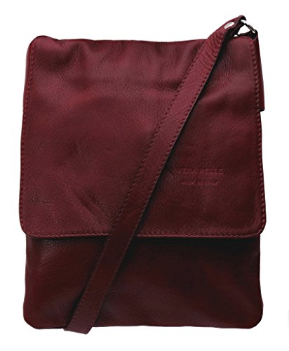 Handbag Vera Pelle Soft Italian Leather Small Cross Body Shoulder Bag - Amethyst Retail Dark Red