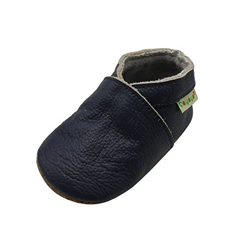 Sayoyo Lowest Best Baby Soft Sole Prewalkers Skid-Resistant Baby Toddler Shoes Cowhide Shoes (12-18 Months, Navy Blue)