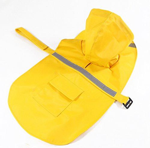 OCSOSO Pet Dog Slicker Raincoat Gear Brite Rain Jackets Dog Cat Hooded with Reflective Band