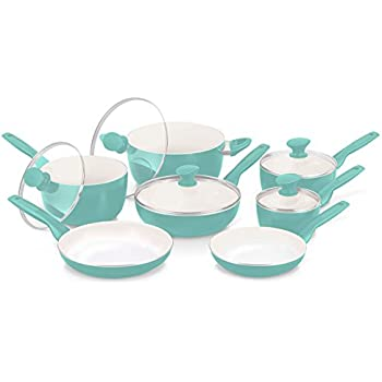 GreenPan Rio 12pc Ceramic Non-Stick Cookware Set, Turquoise