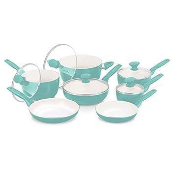 GreenPan Rio – Juego de utensilios de cerámica antiadherente de 12 piezas, color borgoña, Turquoise, none, 1 Cocina Hogar y Cocina Materiales de Cocina Ollas Sartenes y Ollas