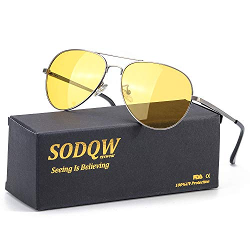 SODQW Aviator Night Vision Driving Anti-Glare Glasses, HD Sight Polarized Yellow Night Guide Rainy Safe Glasses (Gun Frame/Yellow Night Driving ()