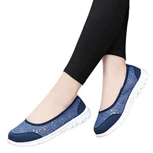 SOMESUN Femmes Sneakers Souple Mesh Tissu Appartements Dentelle Chaussures Course Dentelle Creuse Chaussures Paresseuses Noir Bleu Gris Rouge Noir Kaki Couture Couleurs M