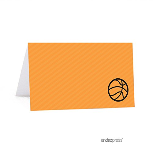 (Andaz Press Birthday Printable Table Tent Place Cards, Basketball, 24-Pack, For Dessert Table Candy Buffet)