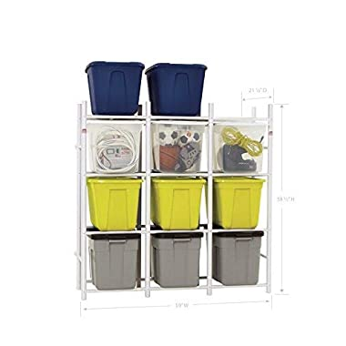 Bin Warehouse Storage Systems DFAE2MBW-12TC 12 Compact Shelving System for Storing Plastic Bins, Totes and tubs.