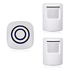 Wireless Home Security Driveway Alarm Motion Sensor Alarm Outdoor Chime Kit With 1 Plug In Receiver And 2 Pir Motion Sensor Detector Alert For Business Home Office Shop Led Indicators