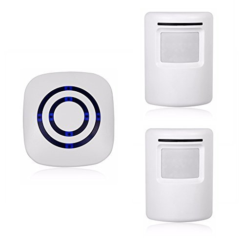 Wireless Home Security Driveway Alarm,Motion Sensor Alarm Outdoor Chime Kit with 1 Plug-in Receiver and 2 PIR Motion Sensor Detector Alert for Business Home Office Shop, LED Indicators