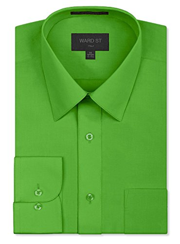 Ward St Men's Regular Fit Dress Shirts, Large, 16-16.5N 36/37S, Green -