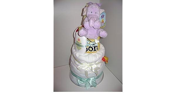 Baby Boy Disney Lumpy el elefante lujo 3-Tier - tarta de pañales Hamper: Amazon.es: Bebé