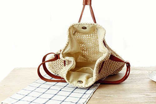 Bag Shoulder Women Drawstring Hobo Bucket Crochet Bag Straw Apricot Donalworld EH7qgFZ7