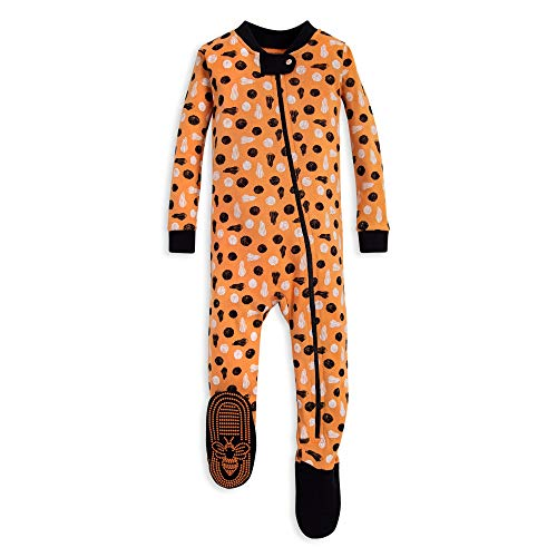(Burt's Bees Baby Baby Boys Unisex Pajamas, Zip-Front Non-Slip Footed Sleeper PJs, Organic Cotton, Stamped Pumpkins, 24 Months)