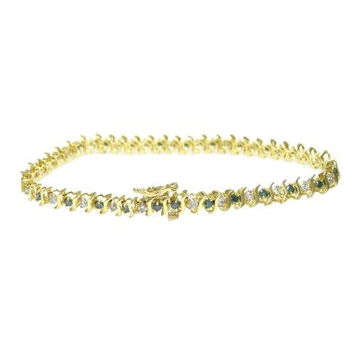 2 CT Blue & White Diamond Bracelet In 10K Yellow Gold