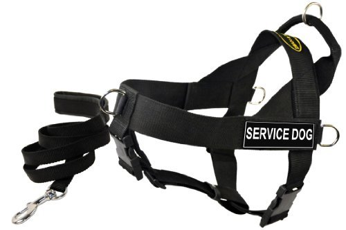 Dean and Tyler Bundle One DT Universal Harness, Service Dog, Medium (26'' - 32'') Plus One Matching Padded Puppy Leash, 6-Feet Stainless Snap, Black by Dean & Tyler