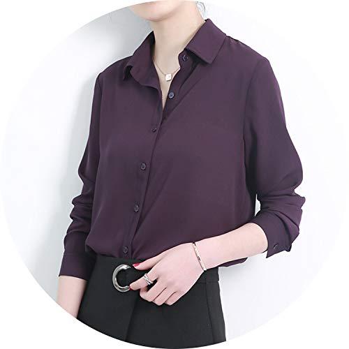 (New Women's Shirt Classic Chiffon Blouse Female Plus Size Loose Long Sleeve Casual)